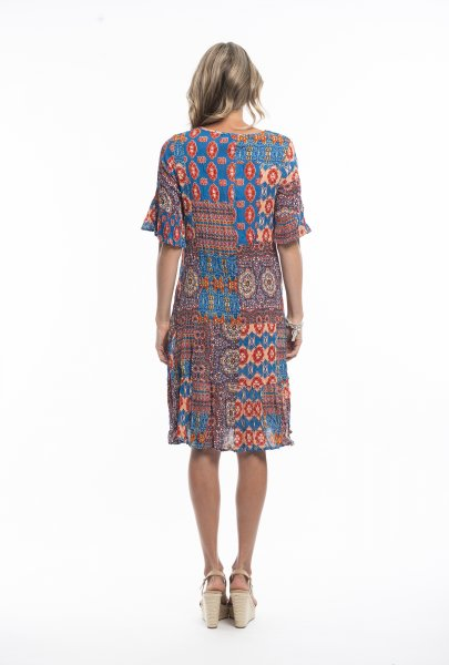 Stephy Dress in Red Blue Paisley