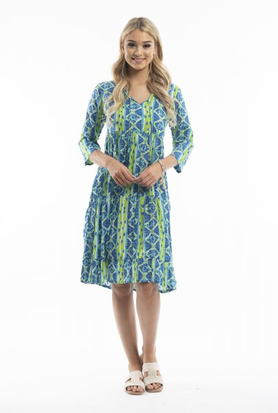 Poppy Dress in Blue and Green