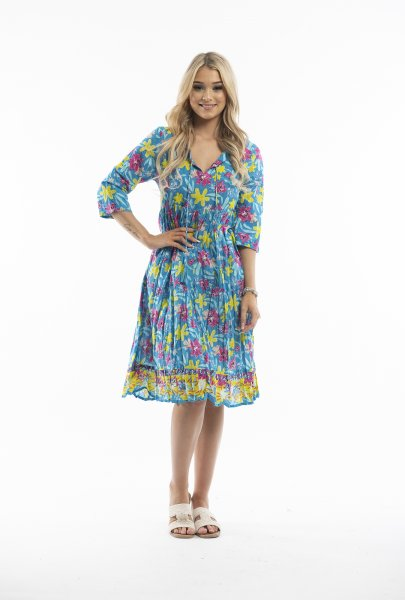 Poppy Dress in Blue and Yellow
