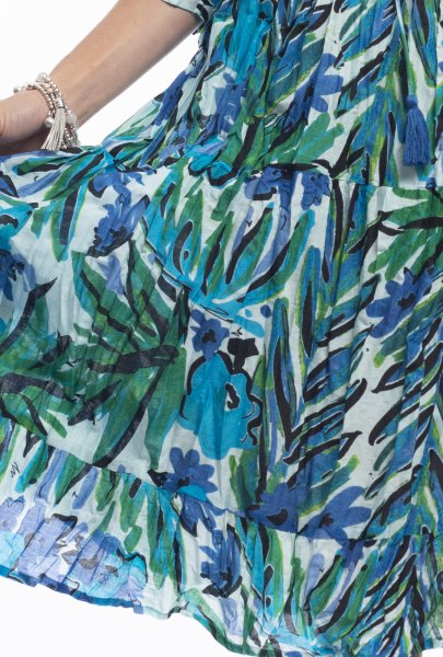 Poppy Dress in Teal Graphic Leaves