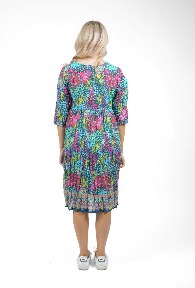 Poppy Dress in Teal and Pink Floral