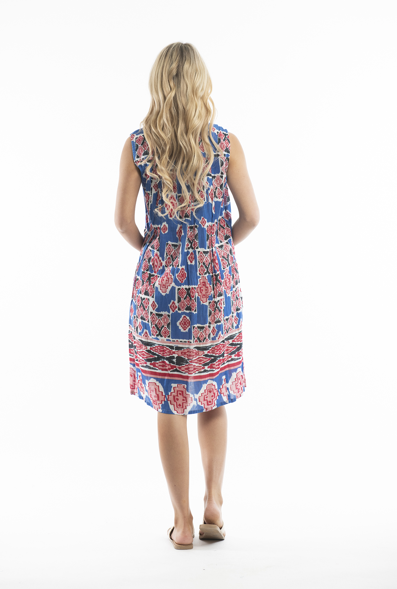 Paula Dress in Blue and Red