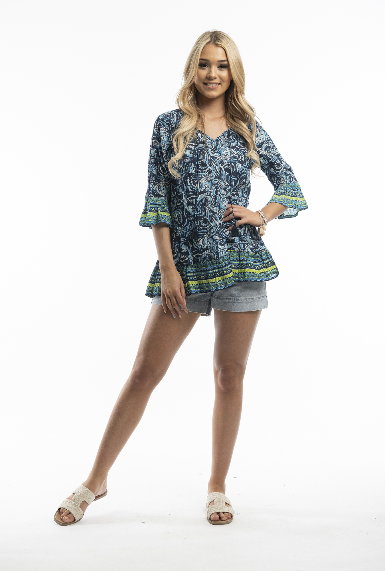 Solah Tunic in Blue Paisley