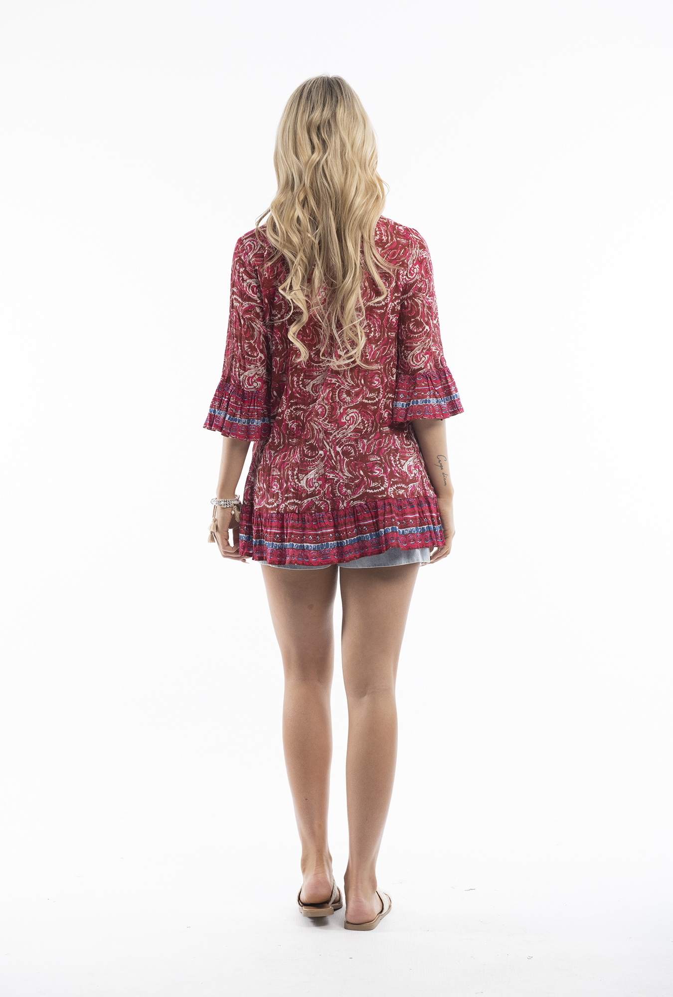 Solah Tunic in Red Paisley