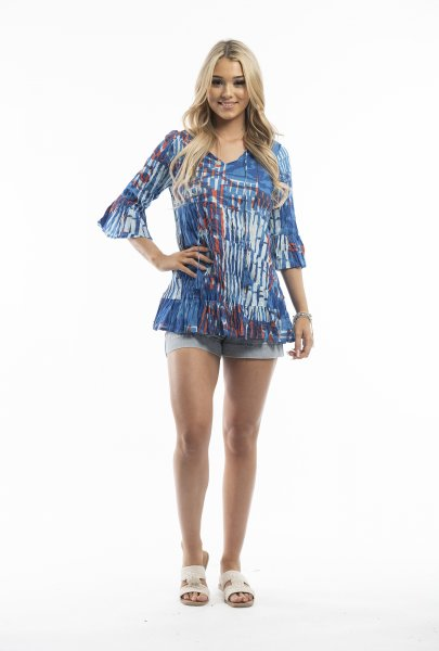 Solah Tunic in Red and Blue Abstract