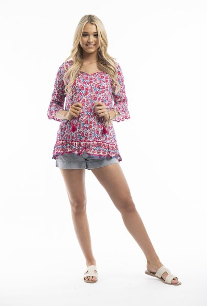 Solah Tunic in Red and Blue Floral