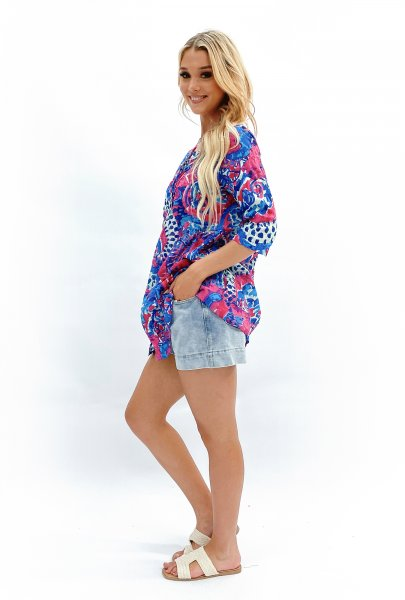 Rosa Tunic Pink Blue Abstract