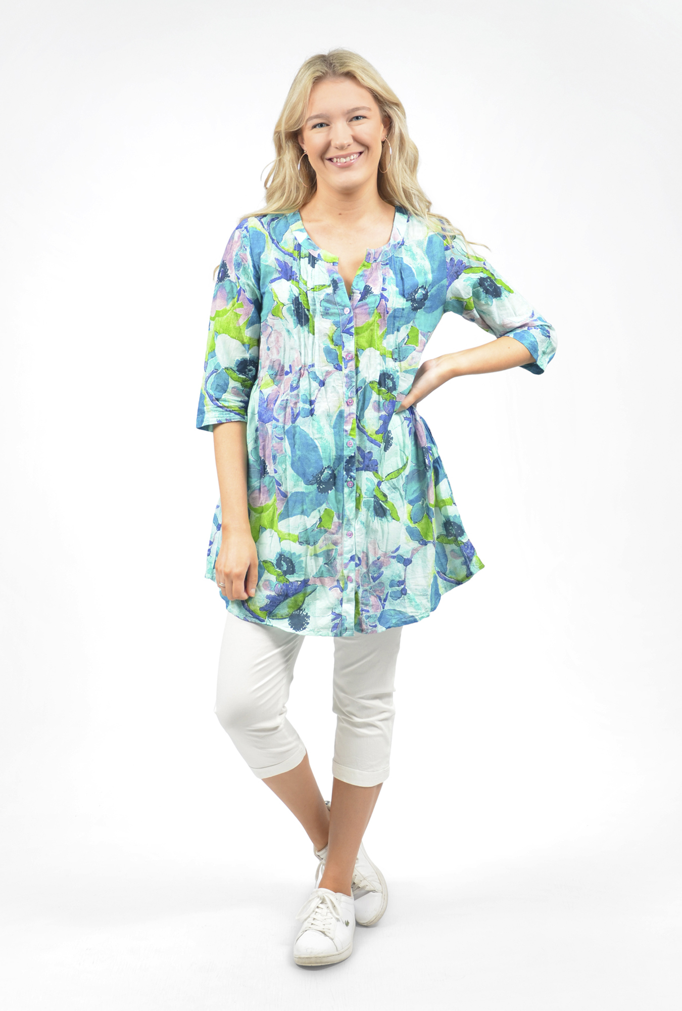 Rosa Tunic in Watercolour Green and Blue