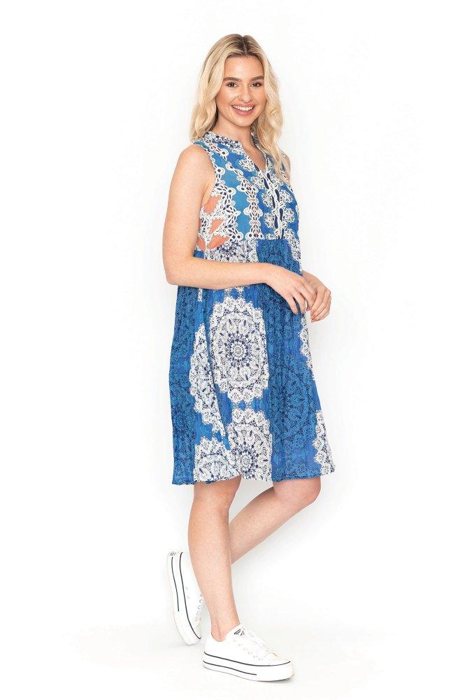 Alana Dress In Mandala Blue