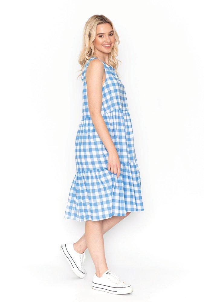Phoebe Dress in Pale Denim Gingham