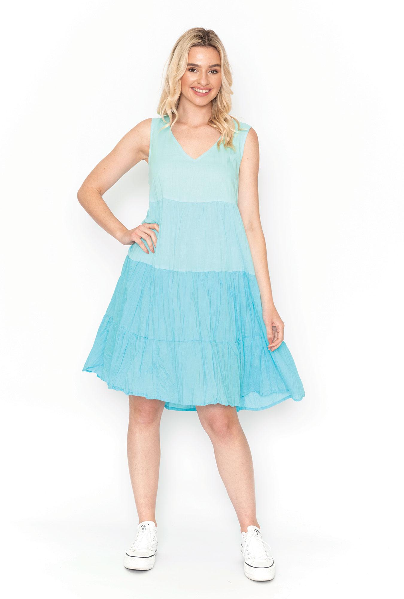 Stella Ombre Dress in Aqua