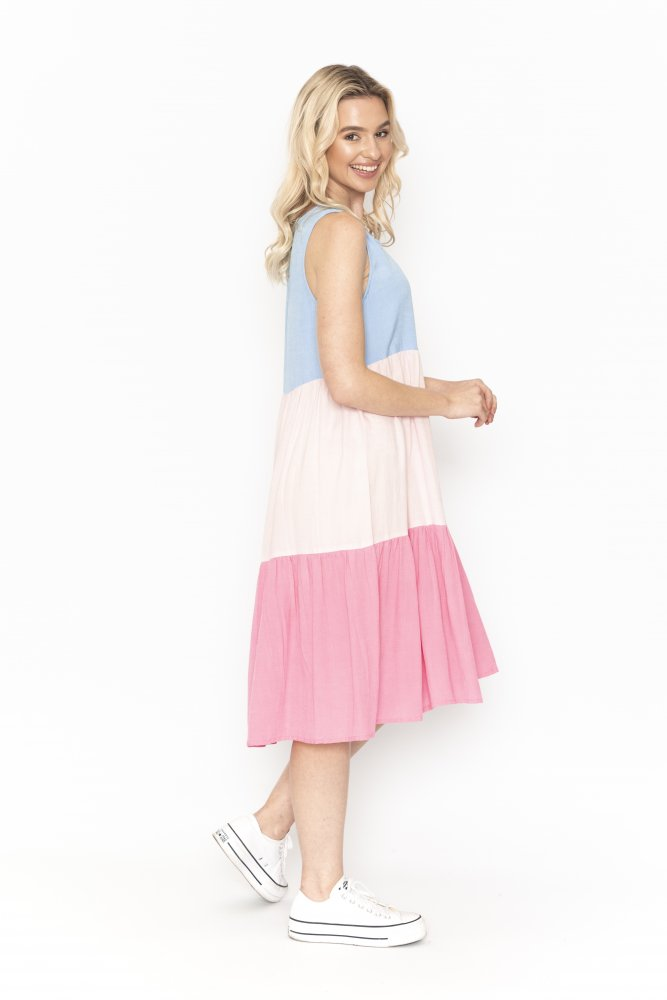 Neapolitan Dress in Pastel Pink and Blue
