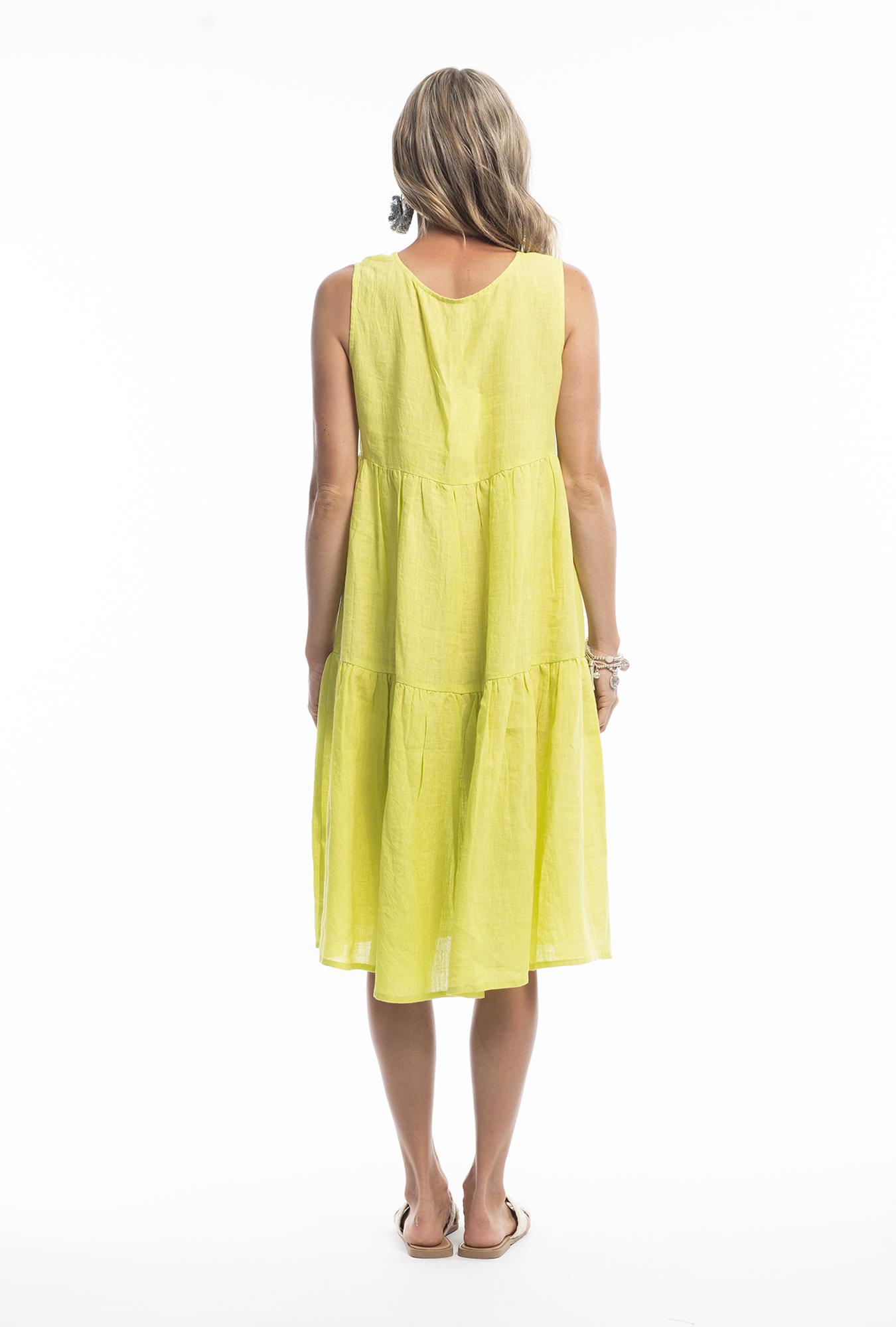 Ellen Midi Dress in Lime