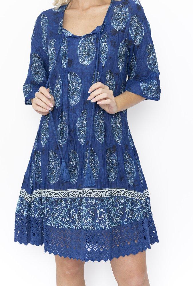 Julia Dress in Blue China Paisley