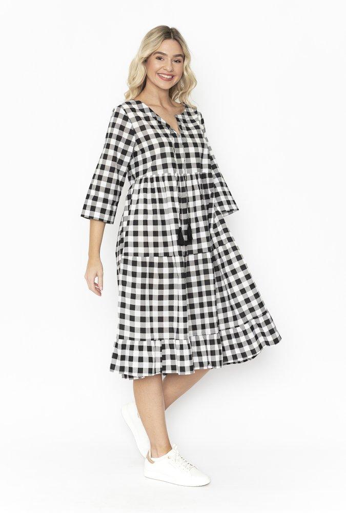 Lennie Dress in Black Gingham