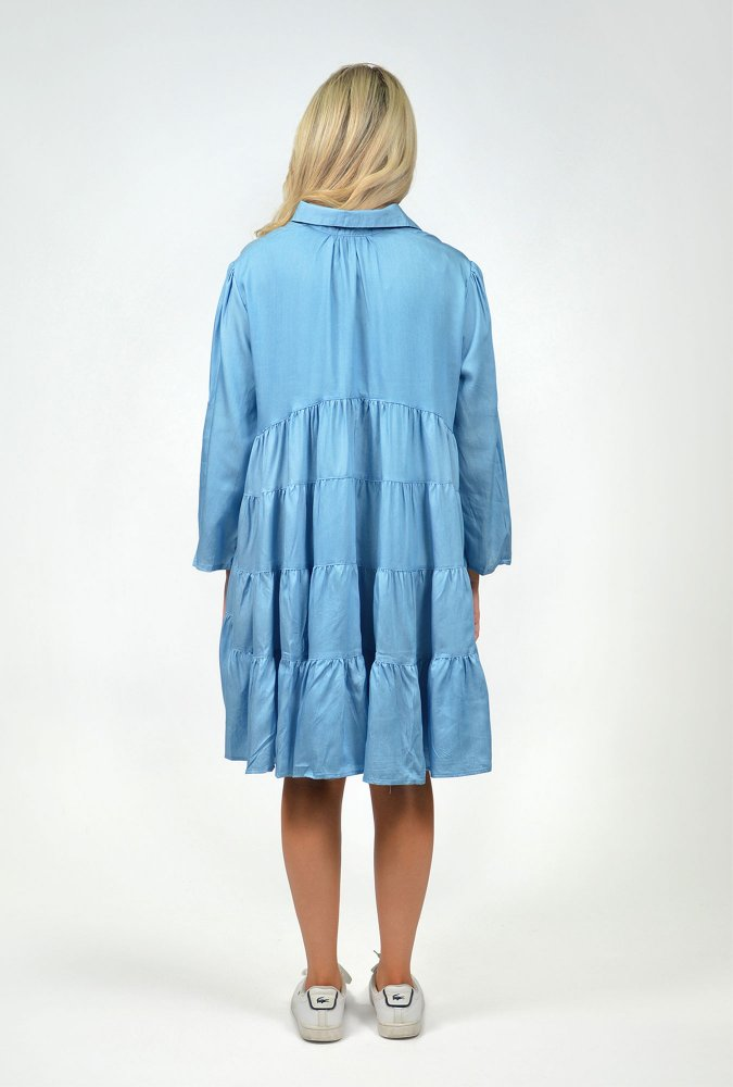 Mia Collared Dress in Chambray