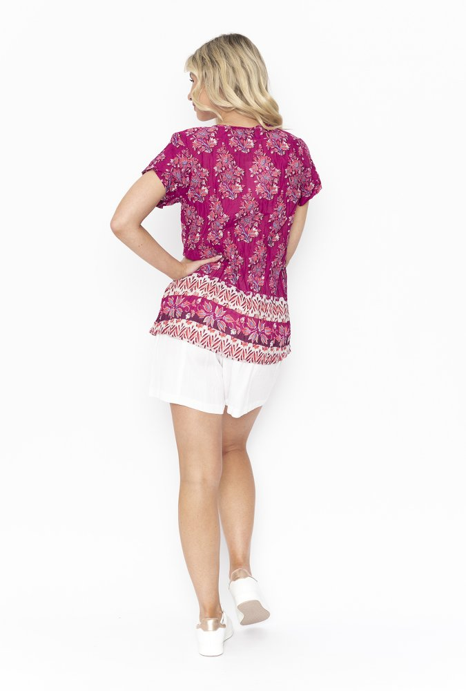 Maggie Top in Pink Paisley