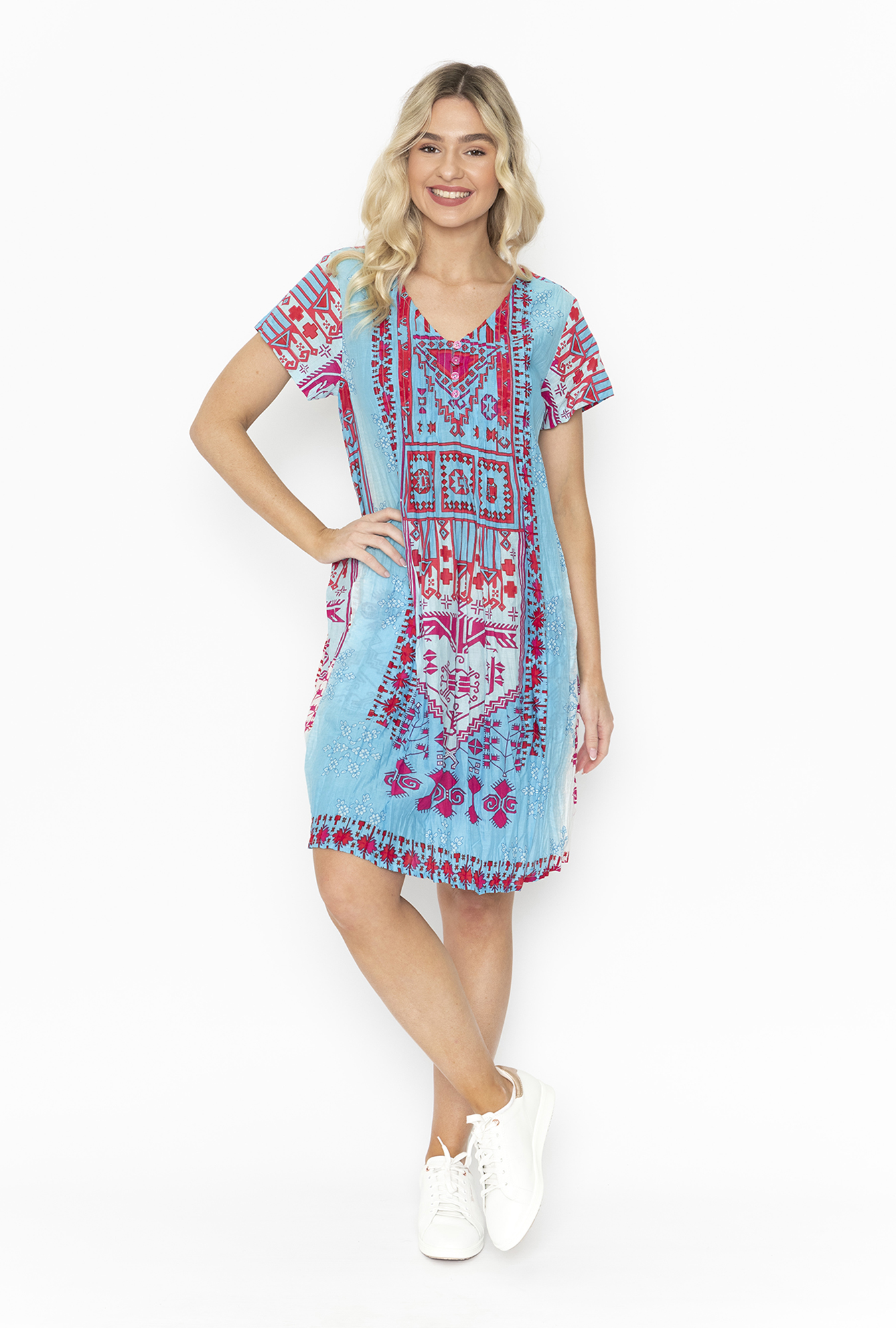 Marla Dress in Pink and Blue