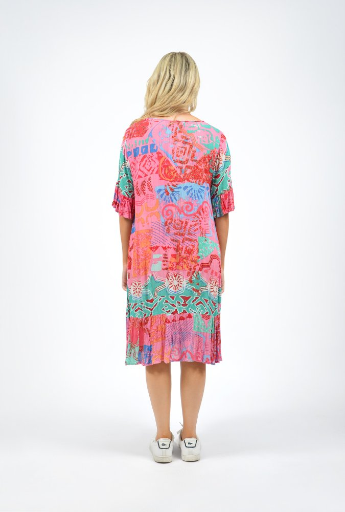 Stephy Dress in Pink Island Print