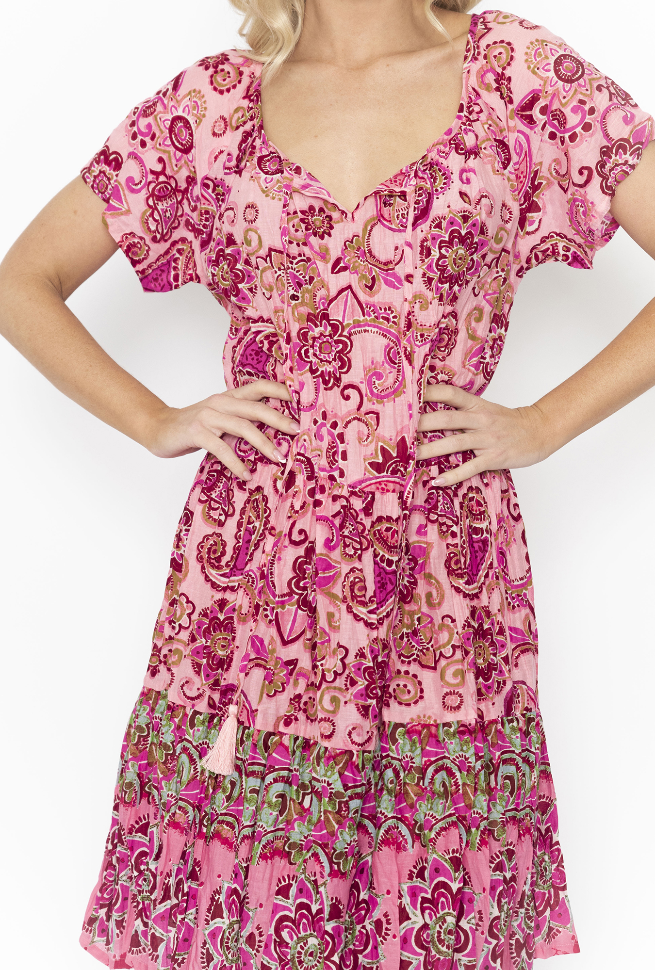 Nora Dress in Pink Paisley
