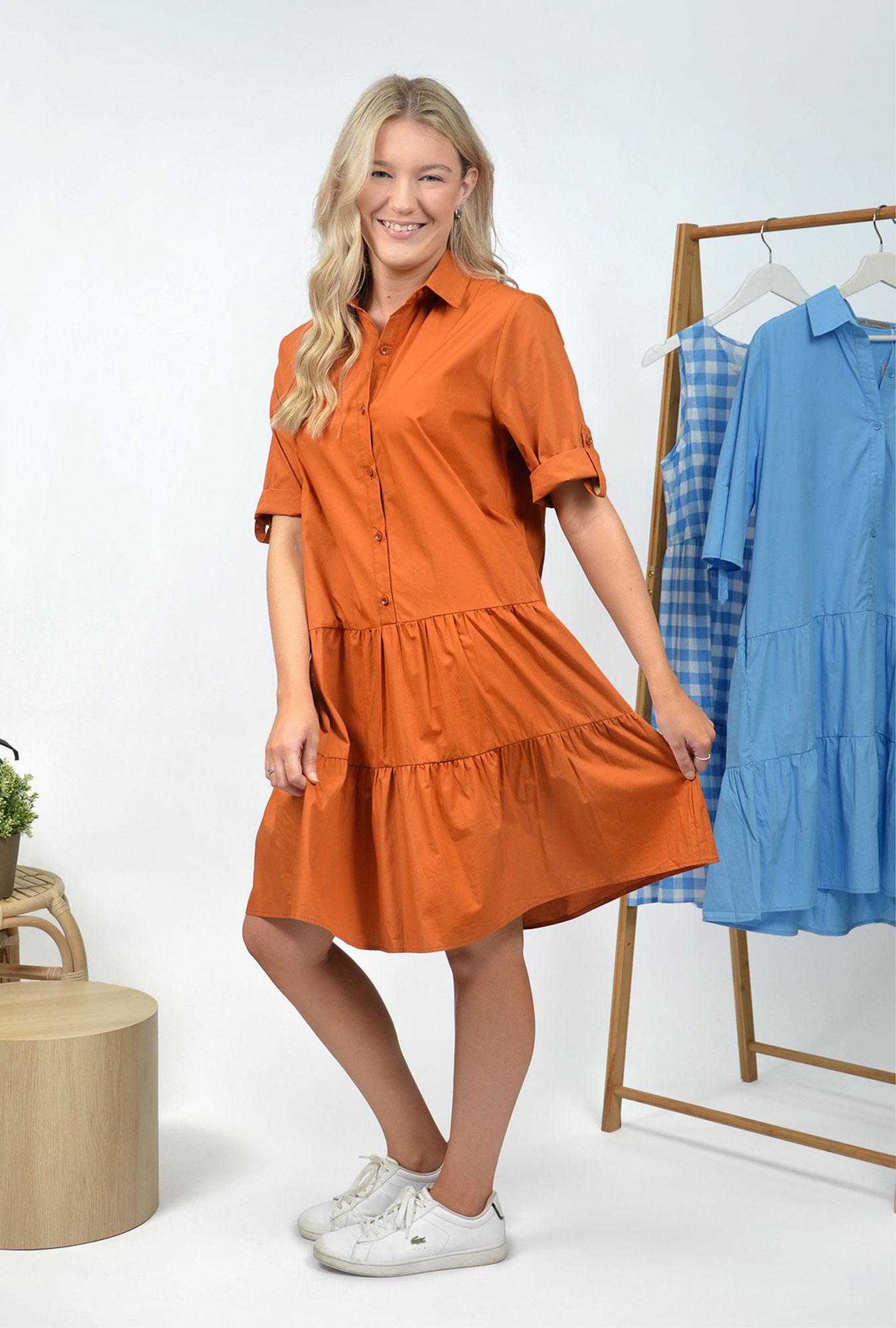 Remi Collar Dress in Rust