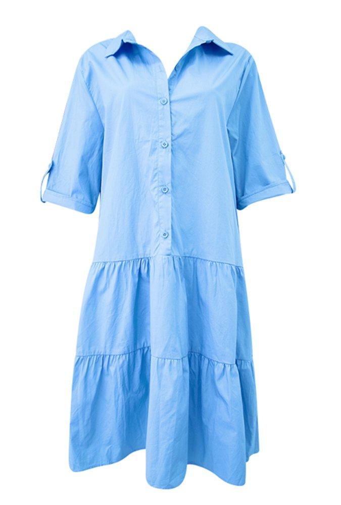 Remi Collar Dress in Blue