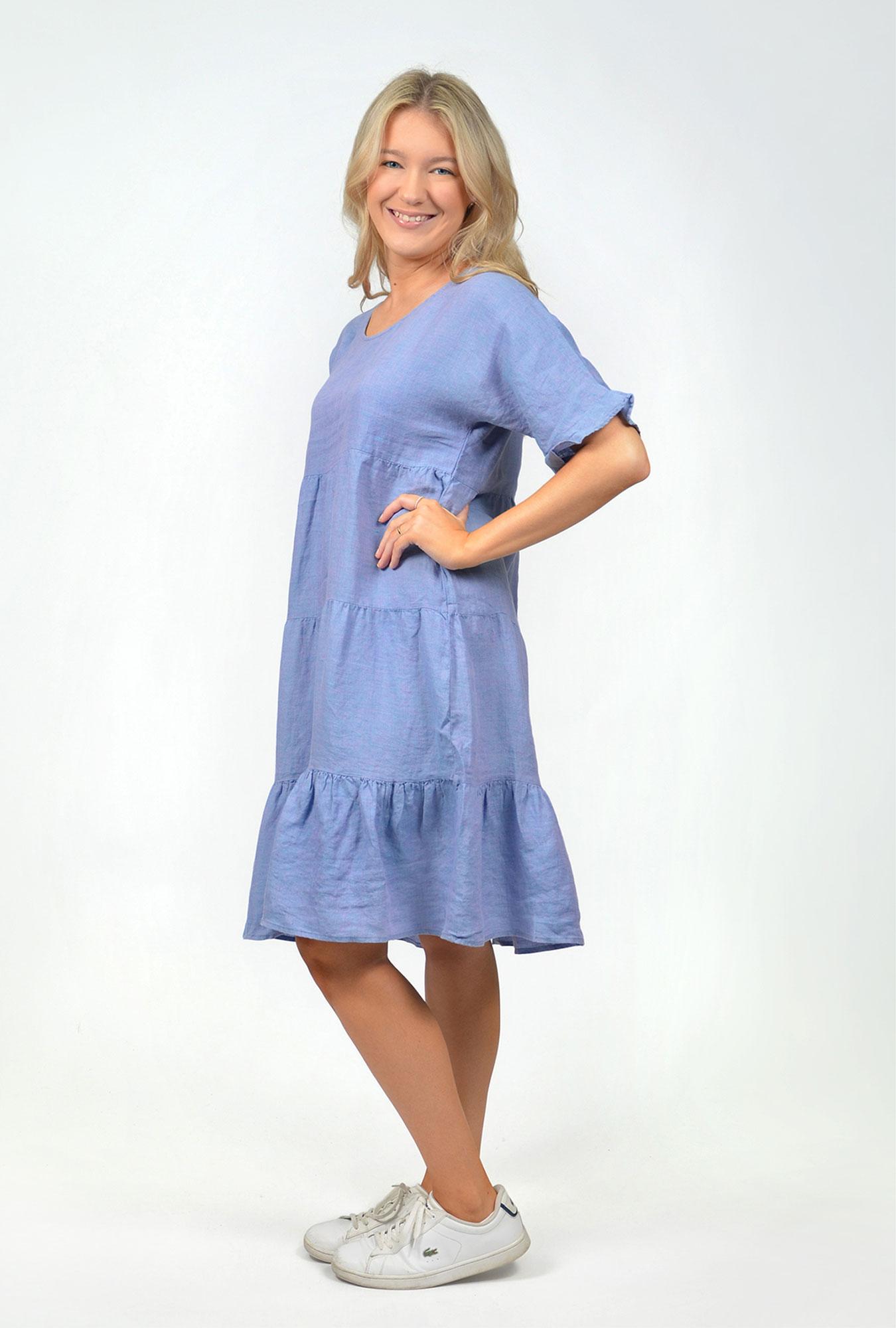 Chambray Frilled Dress