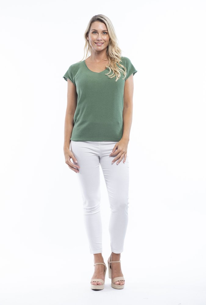 Stacey V Tee in Olive