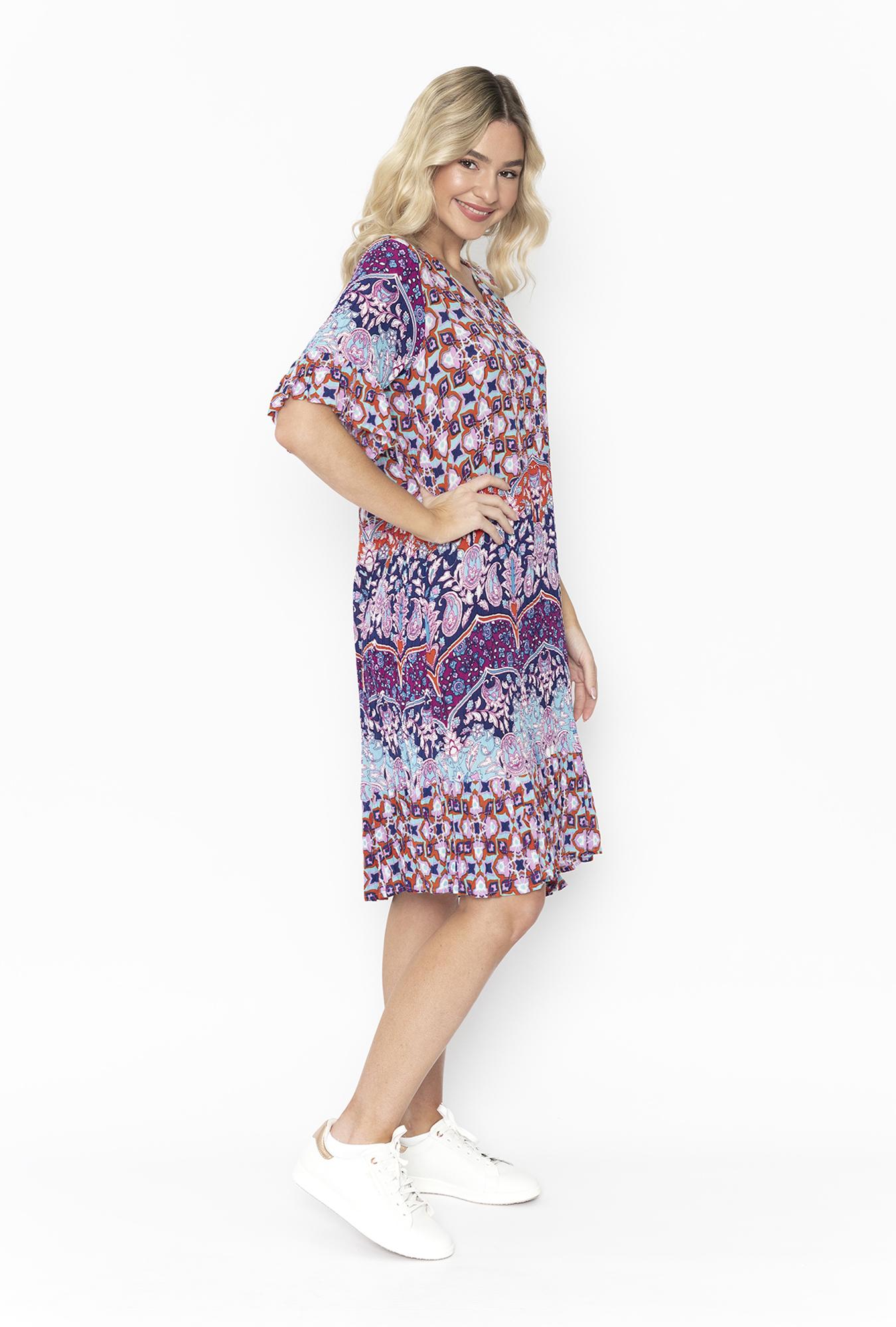 Stephy Dress Plum Paisley