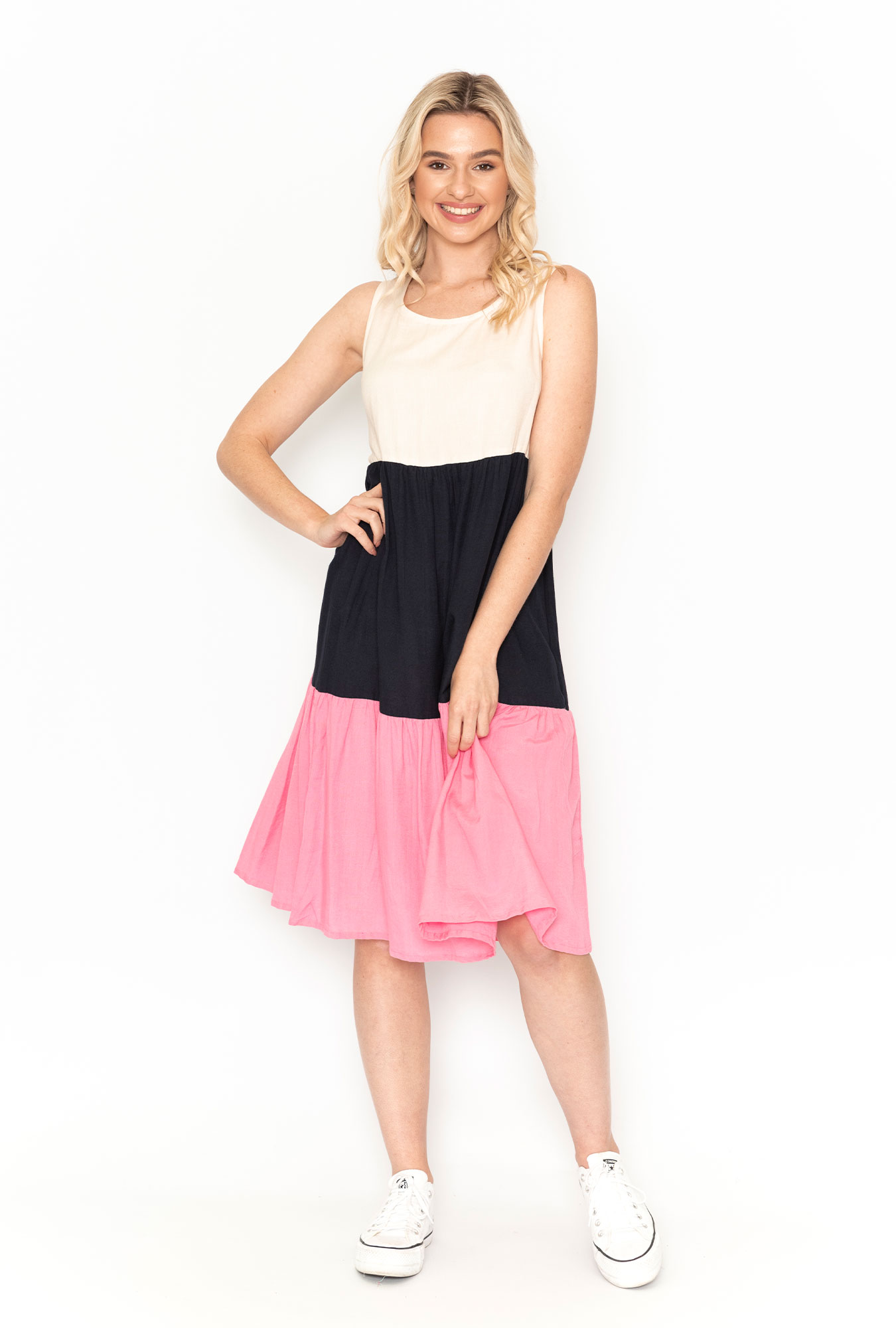 Neapolitan Dress in Pink and Navy Mix