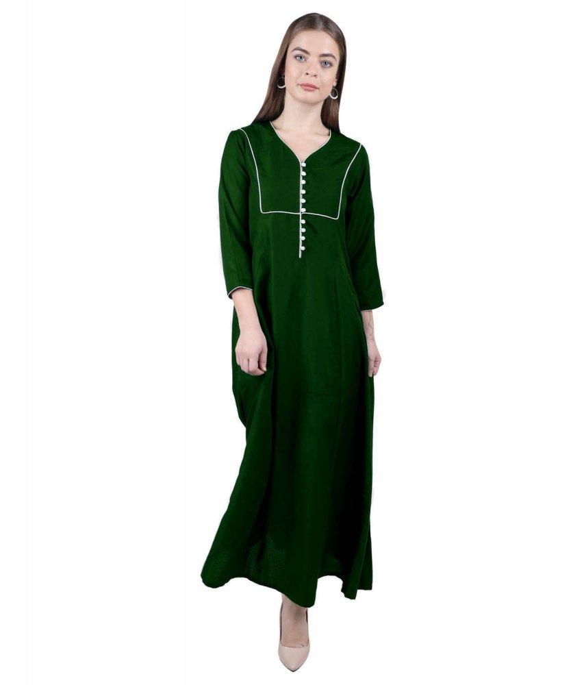 Empire Full Length Kurti Style Dress in Bottle Green