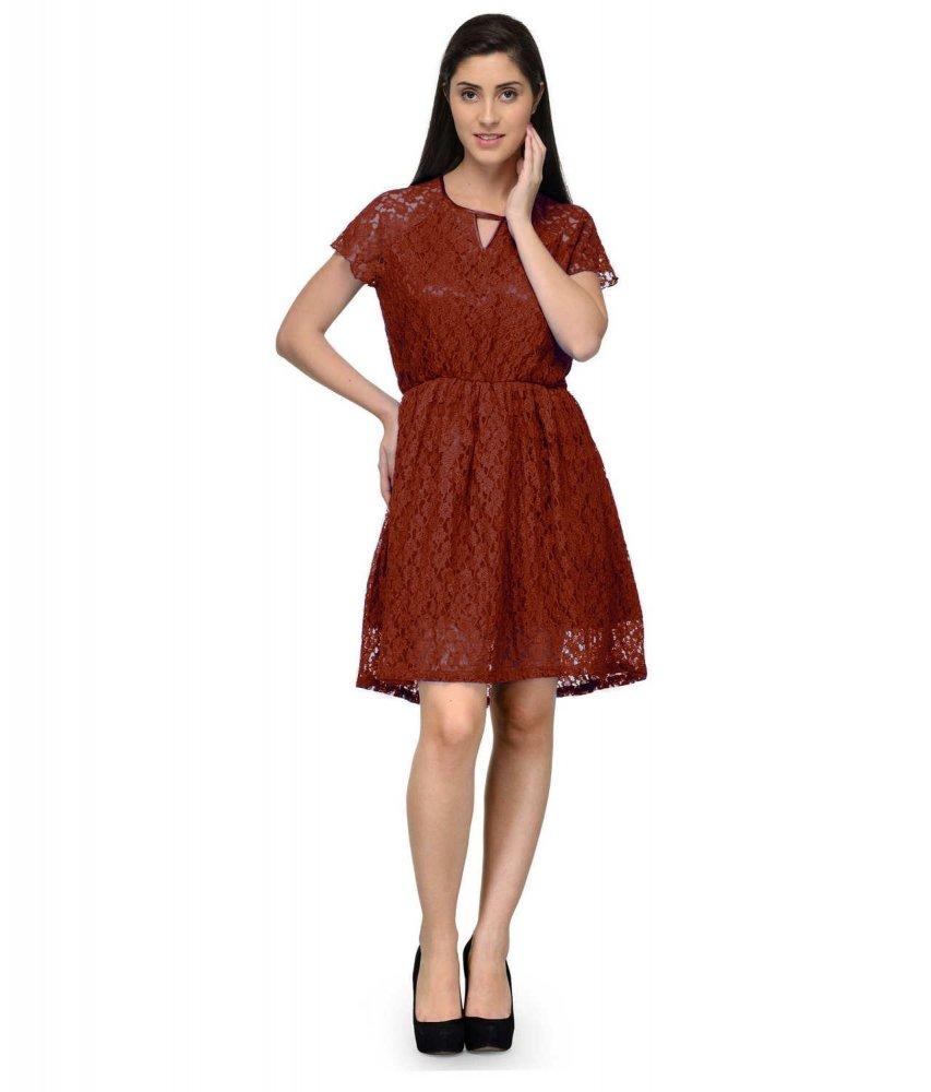 Vintage Cocktail Knee Length Net Dress in Maroon