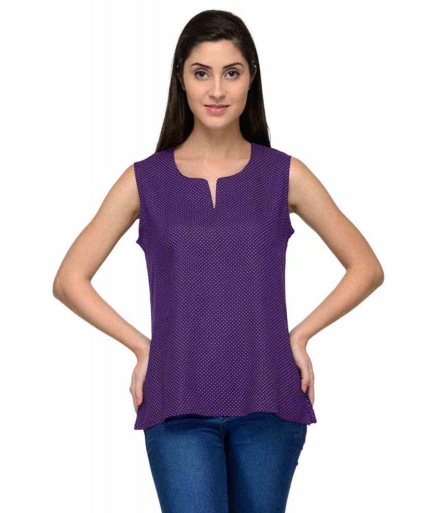 Poly Silk Cami Vest Top in Purple Polka Dot