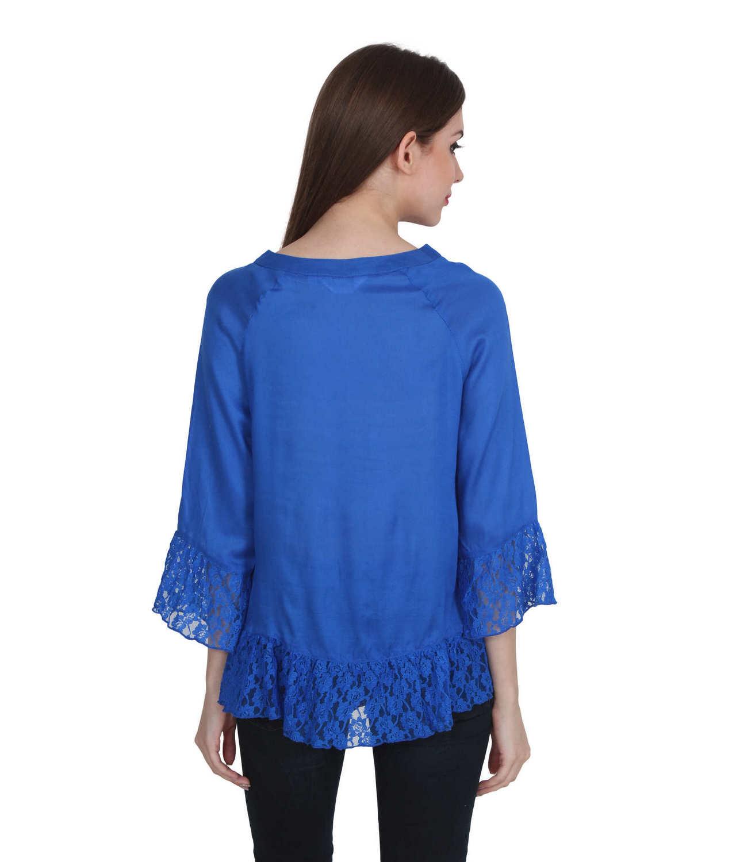 Lace Trim Asymmetrical Boxy Top in Royal Blue