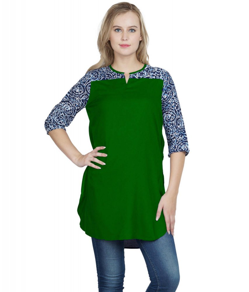 Regular Formal Kurta Kurti in Multicolor:Bottle Green
