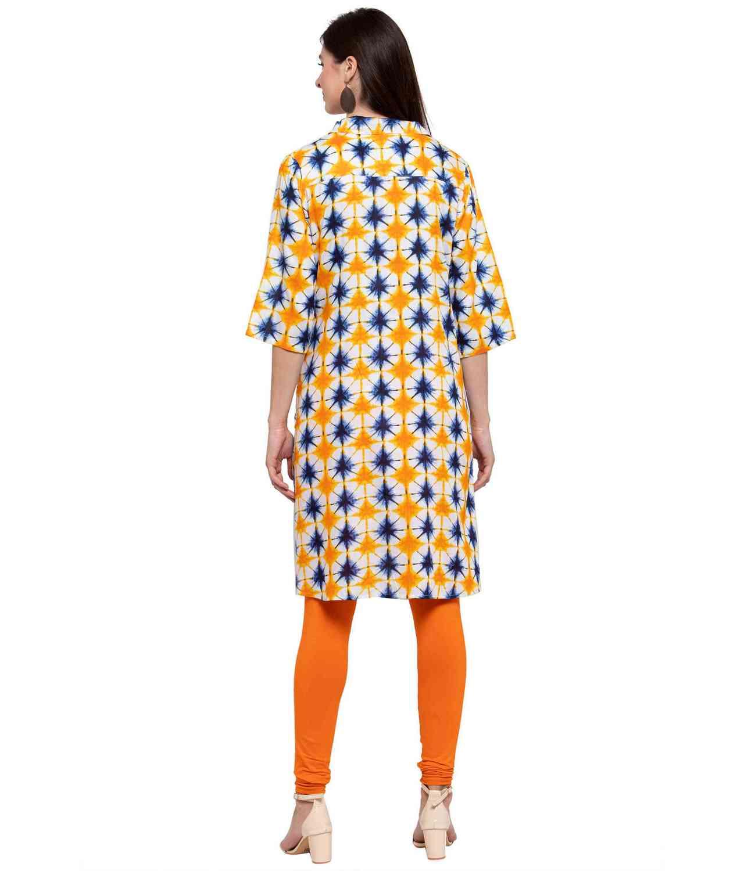 Pathani Kurta Top in Yellow Modern Print
