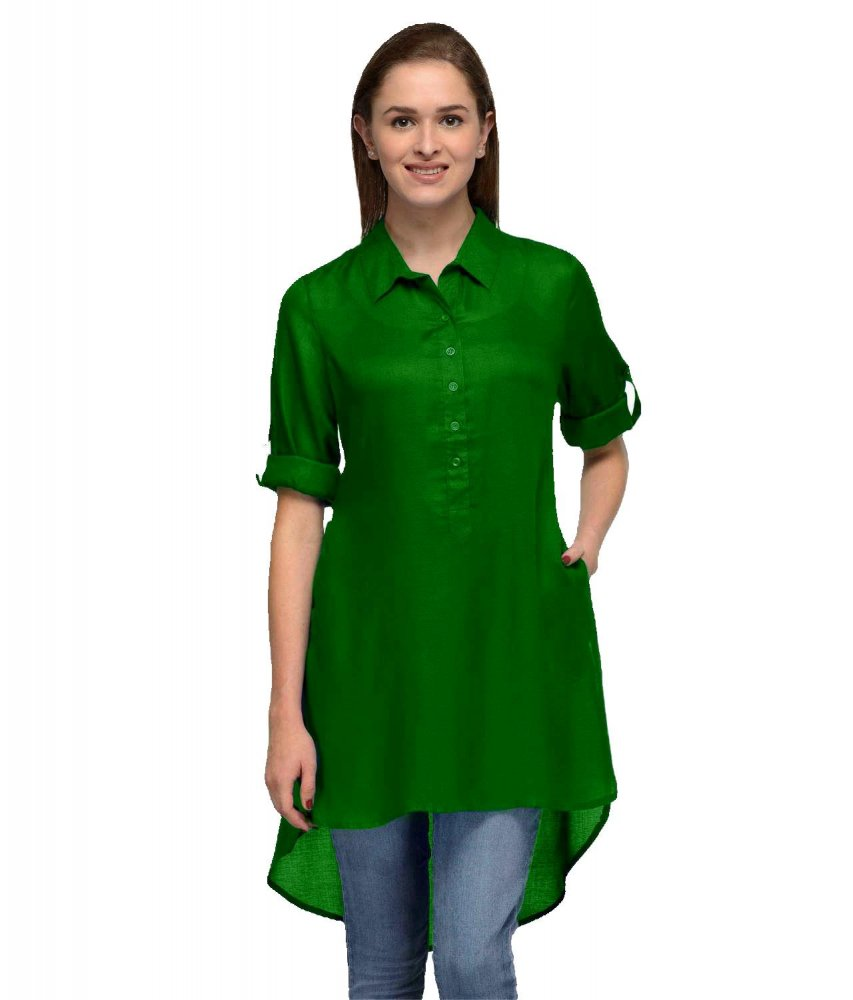 Collared High Low Tunic Top in Bottle Green