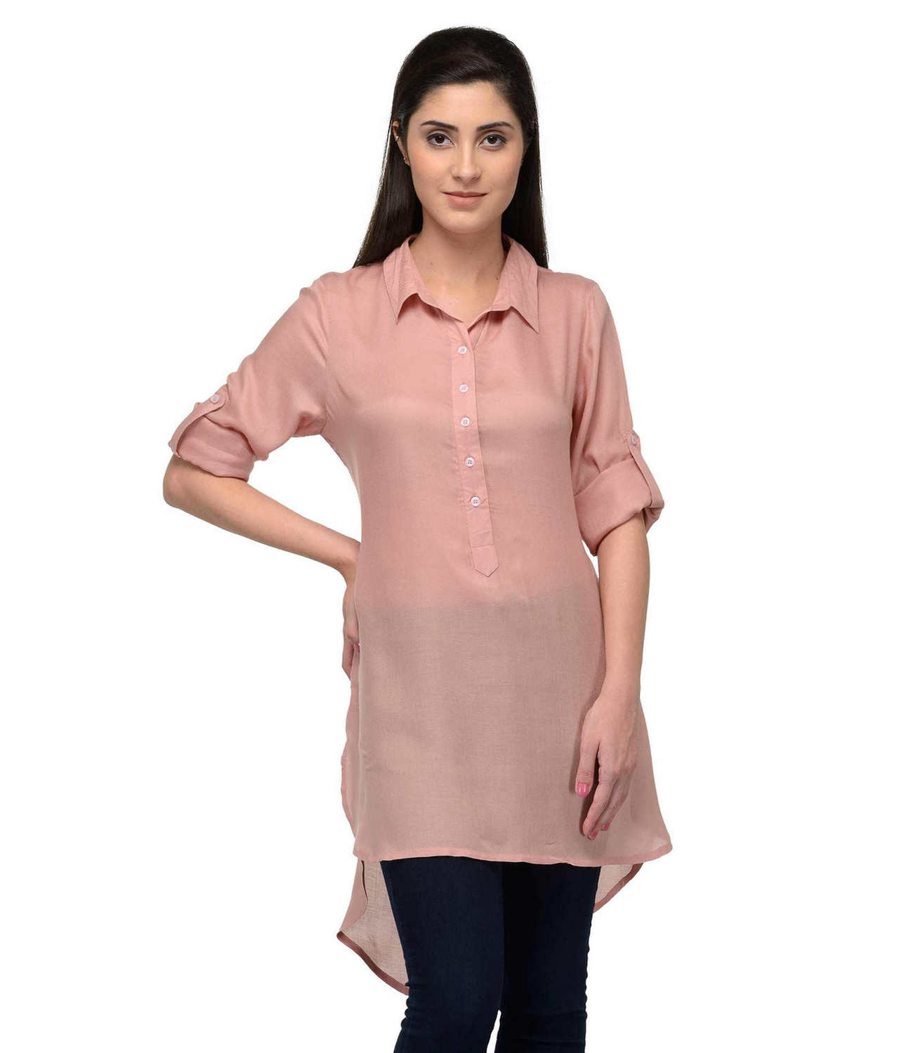 Collared High Low Tunic Top in Peach