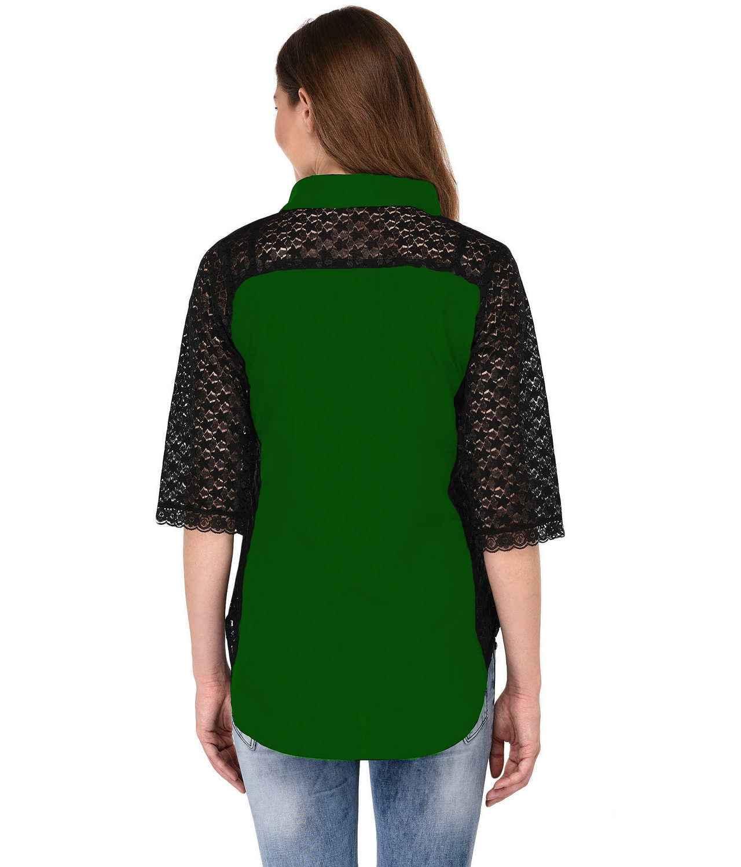 Shirt Top in Black Bottle Green