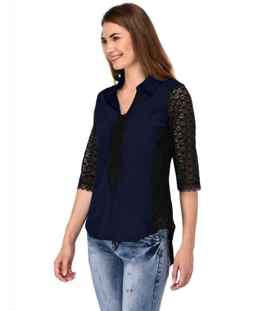 Shirt Top in Black Dark Blue