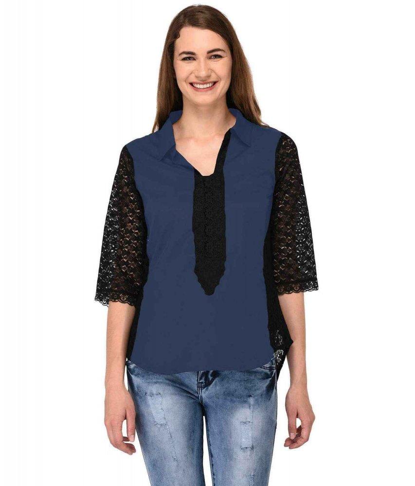 Shirt Top in Black Charcoal Grey