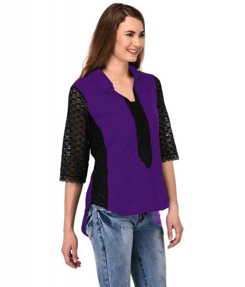 Shirt Top in Black Purple
