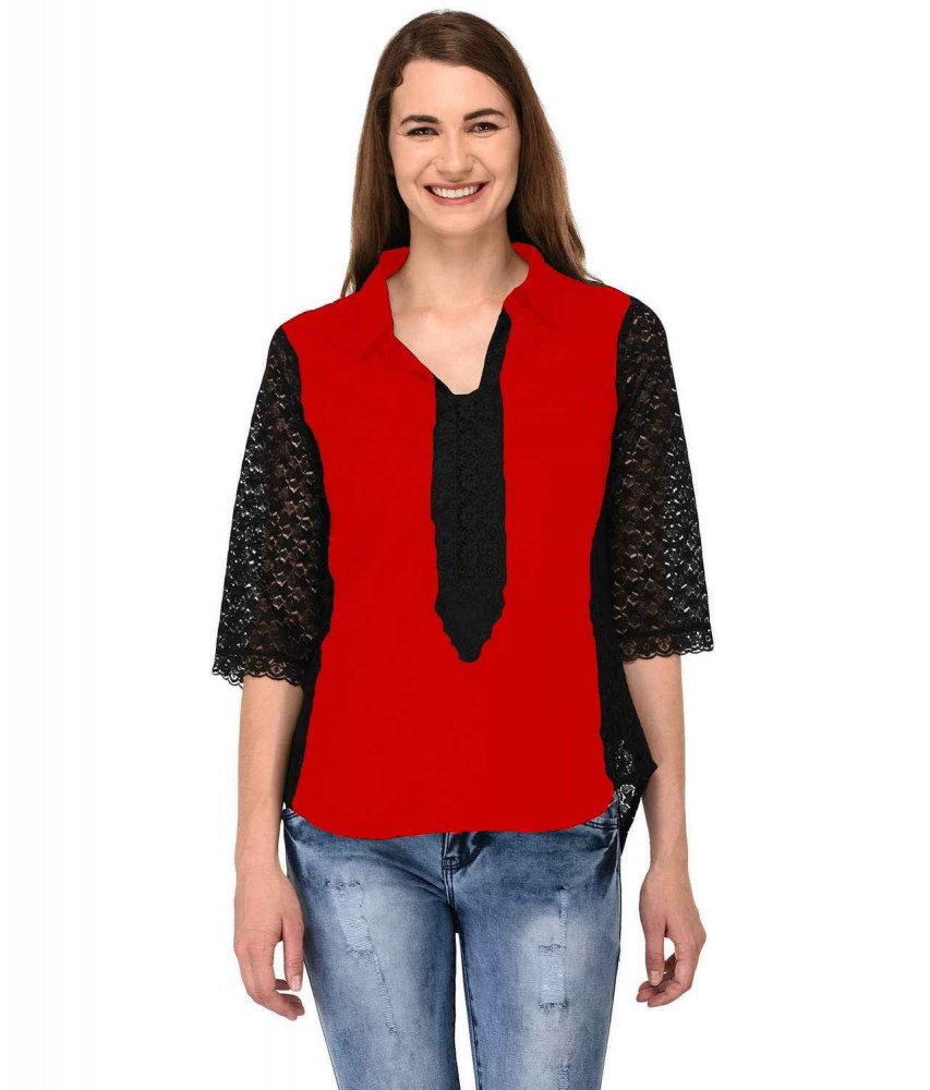 Shirt Top in Black Red