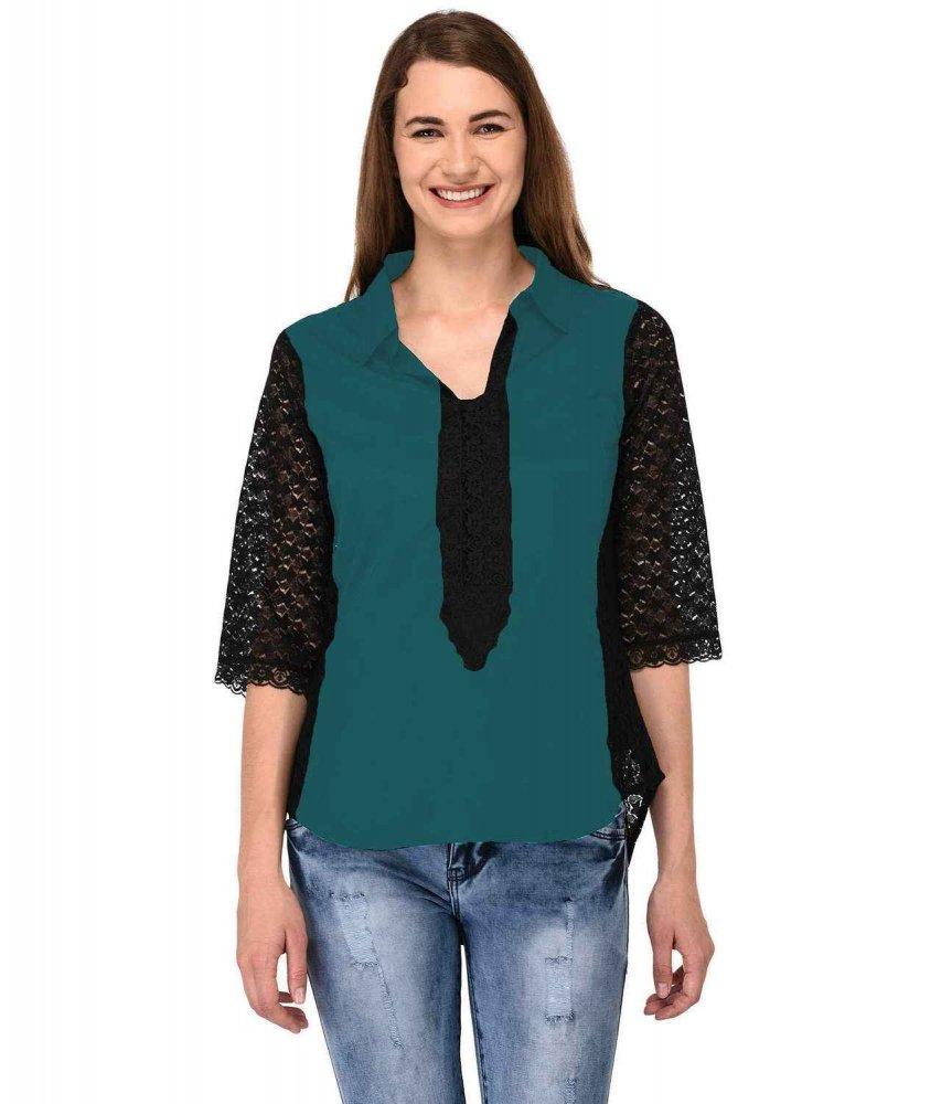 Shirt Top in Black Rama Green
