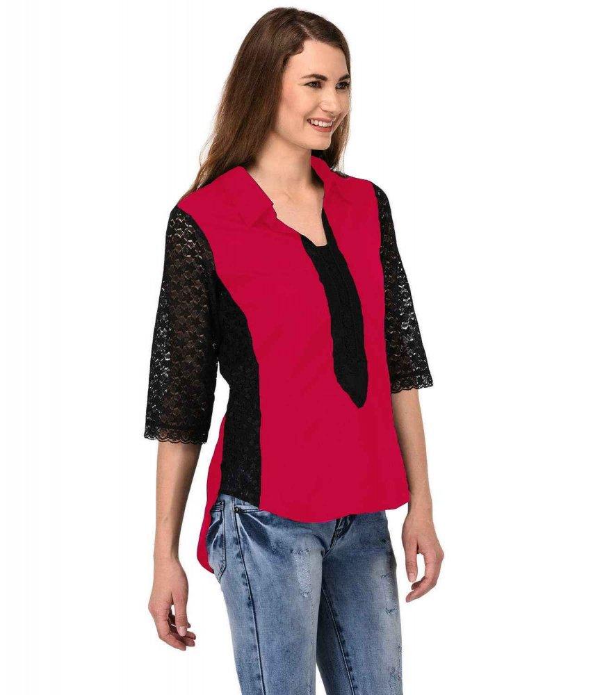 Shirt Top in Black Fuchsia