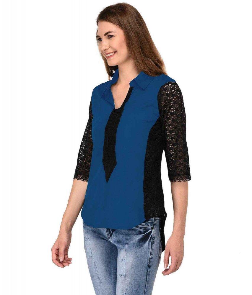 Shirt Top in Black Sky Blue