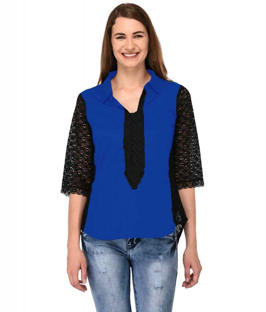 Shirt Top in Black Turquoise Blue
