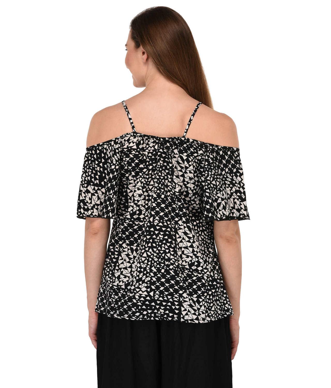 Cold Shoulder Peasant Top in Black Modern Print