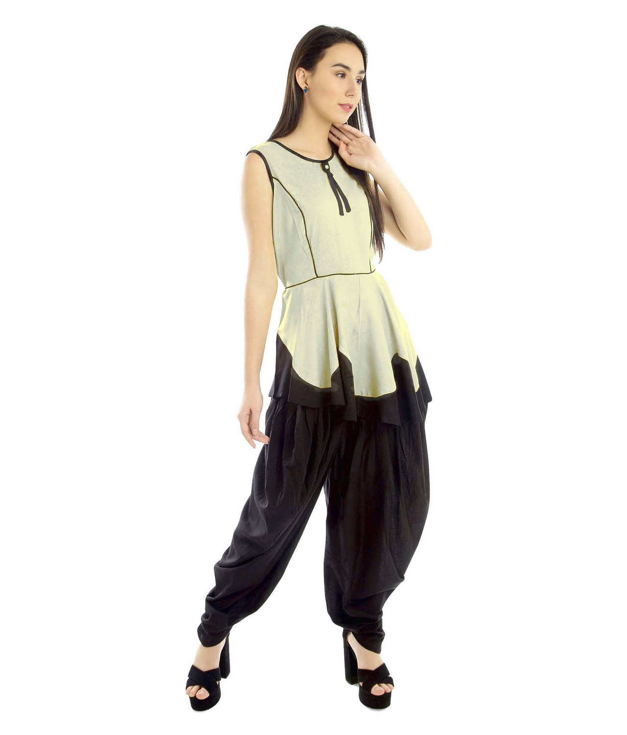 Prince Line Peplum Top in Off-White