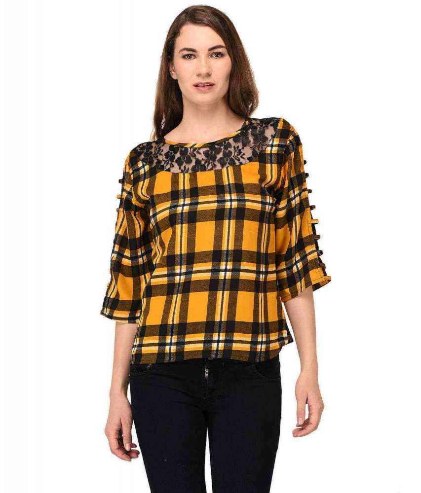 Poly Silk Boxy Peasant Top in Yellow Check Print